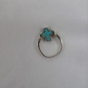 Silver Reversible Cross Ring Size 61/2  Turquoise